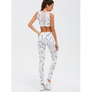 Taille haute Skinny Mesh Spliced See-Through Sport Suit - Blanc L
