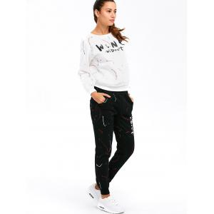 Graphic Sweatshirt with Jogger Pants - WHITE XL