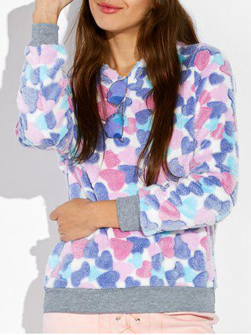 Sale Heart Pattern Fleece Hoodie COLORMIX XL