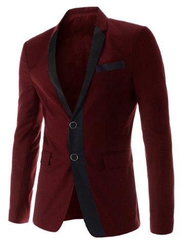 Store Stylish Lapel Color Block Splicing Slimming Long Sleeve Cotton Blend Blazer For Men - M WINE RED Mobile