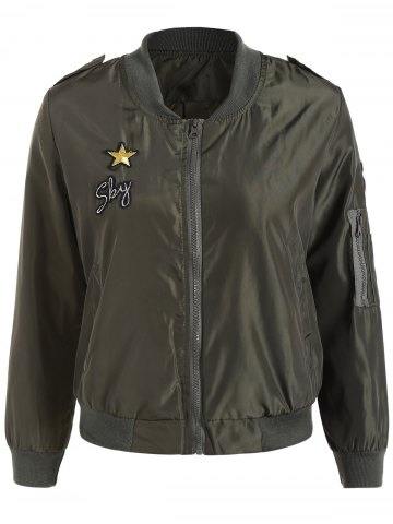 Shops Zip Up Patched Bomber Jacket