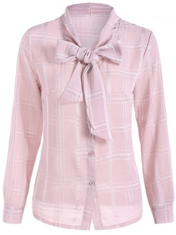 Grid Pussy Bow Tied Neck Blouse - Light Pink - S