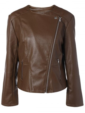 Best Plus Size Zip-Up Biker Jacket BRONZE 5XL