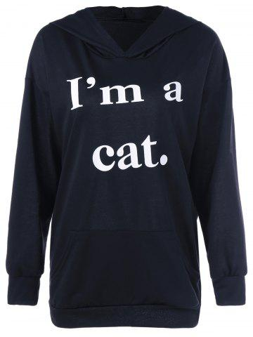 Affordable Cat Graphic Jumper Hoodie BLACK XL