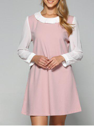 Affordable Plus Size Pleated Two Layered Collar Loose A Line Dress
