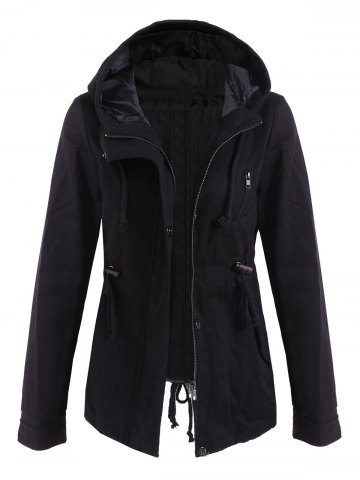 Hot Drawstring Cargo Jacket with Hood BLACK M