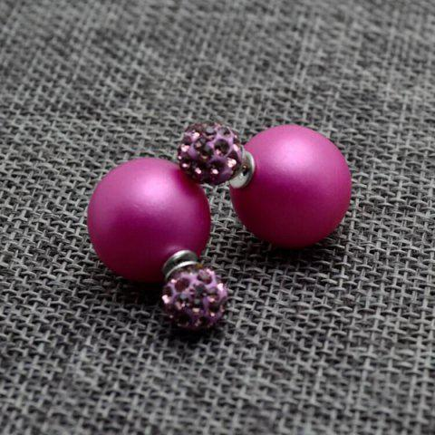 Affordable Pair of Pure Color Round Faux Pearl Stud Earrings for Women LIGHT PURPLE