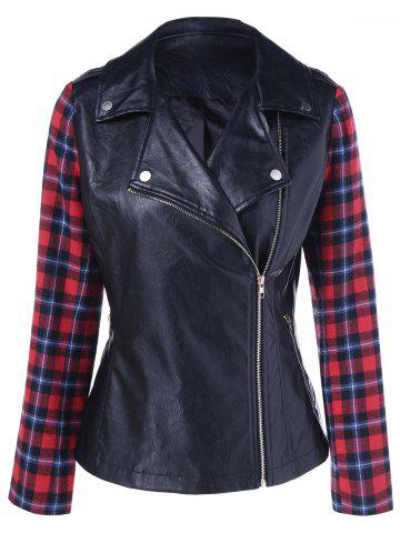 Shop Plaid Sleeve Biker Jacket