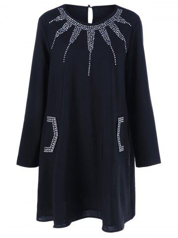 Rhinestone Embellished Loose Dress - Black - 4xl