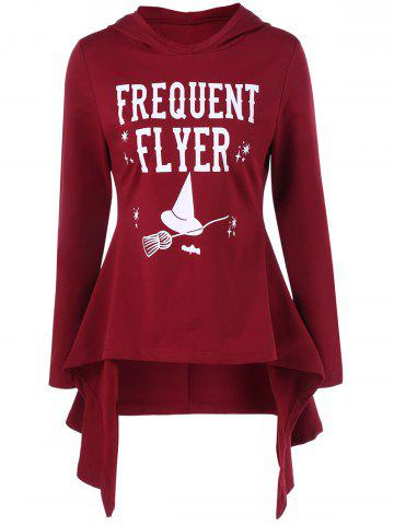 Shop Witch Hat Print Asymmetrical Peplum Hoodie RED WITH WHITE M