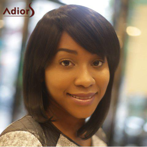 Fancy Adiors Inclined Bang Straight Medium Synthetic Wig - BLACK  Mobile