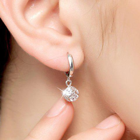 Fashion Candy Shape Faux Crystal Drop Earrings - SILVER  Mobile