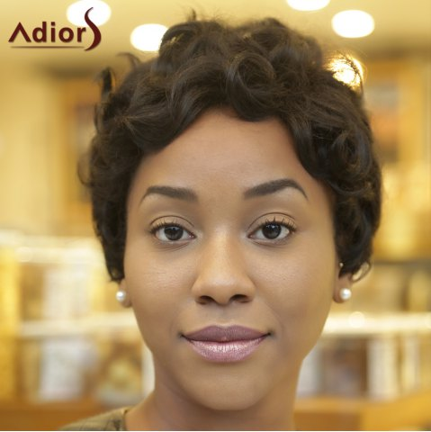 Best Adiors Ultrashort Pixie Cut Fluffy Curly Heat Resistant Synthetic Wig - BLACK  Mobile