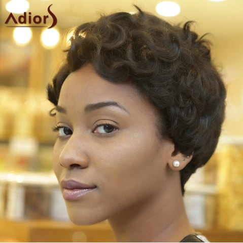 Cheap Adiors Ultrashort Pixie Cut Fluffy Curly Heat Resistant Synthetic Wig - BLACK  Mobile