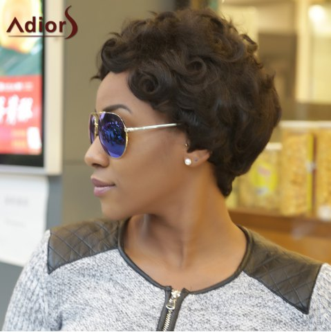 Buy Adiors Ultrashort Pixie Cut Fluffy Curly Heat Resistant Synthetic Wig BLACK