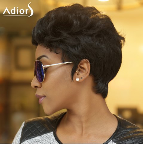 Unique Adiors Short Fluffy Curly Synthetic Wig - BLACK  Mobile