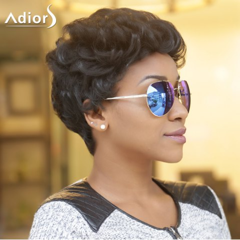 Buy Adiors Short Fluffy Curly Synthetic Wig - BLACK  Mobile