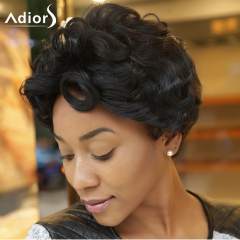Shops Adiors Side Bang Short Curly Synthetic Wig