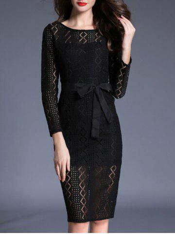 Shops Long Sleeve Lace Bodycon Midi Dress BLACK L