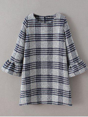 Cheap Bell Sleeve Checked Thick Shift Dress GRAY L