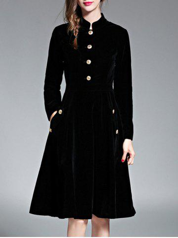 Discount A Line Velvet Long Sleeve Dress
