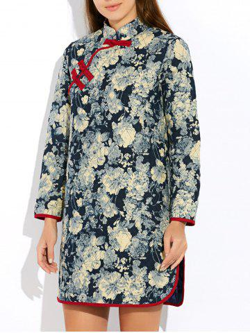 Outfits Floral Long Chinese Style Coat GRAY L