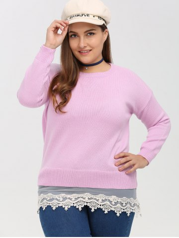 Crew Neck Lace Spliced Plus Size Sweater - Pink - Xl