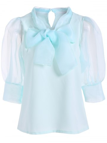New Pussy Bow Puff Sleeves Organza Panel Blouse PALE GREEN L