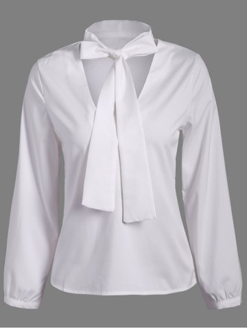 Shop Pussy Bow Long Sleeves Blouse WHITE 2XL