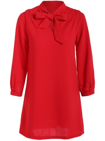 Hot Pussy Bow Shift Dress RED S