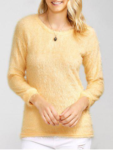 Trendy Drop Shoulder Long Fuzzy Sweater APRICOT XL