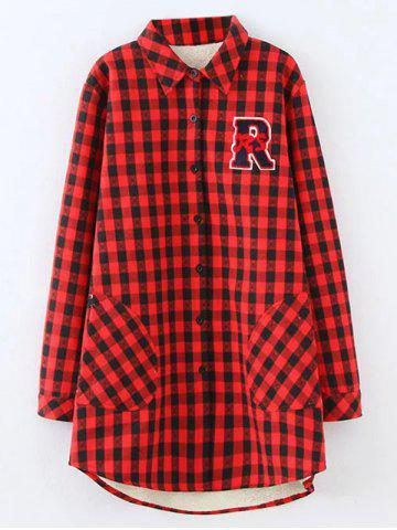 Store Plus Size Plaid Fleece Shirt Jacket RED 4XL