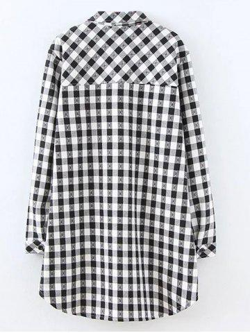Buy Plus Size Plaid Fleece Shirt Jacket - XL WHITE Mobile