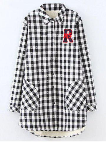 Trendy Plus Size Plaid Fleece Shirt Jacket - XL WHITE Mobile