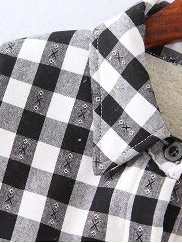 Sale Plus Size Plaid Fleece Shirt Jacket - XL WHITE Mobile