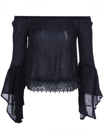 Online Lace Bell Sleeve Blouse