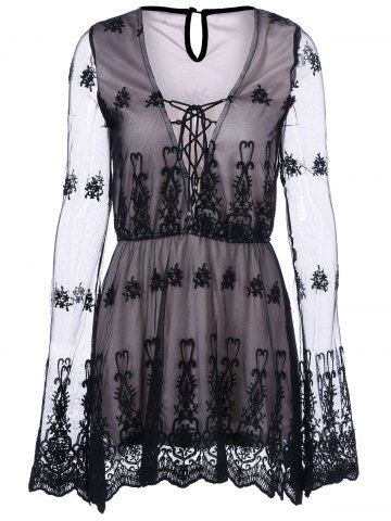 Outfit See Thru Lace Up Dress