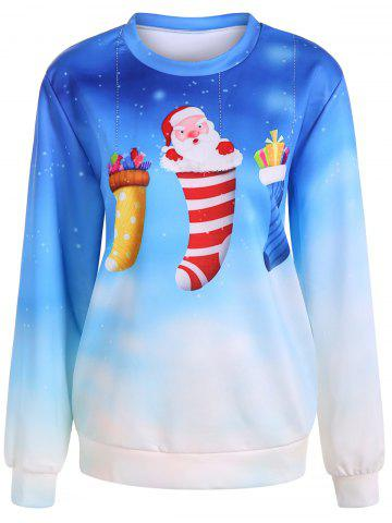 Chic Ombre Color Socks Christmas Sweatshirt AZURE ONE SIZE