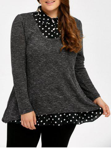 Shops Plus Size Polka Dot Insert Sweater GRAY 5XL