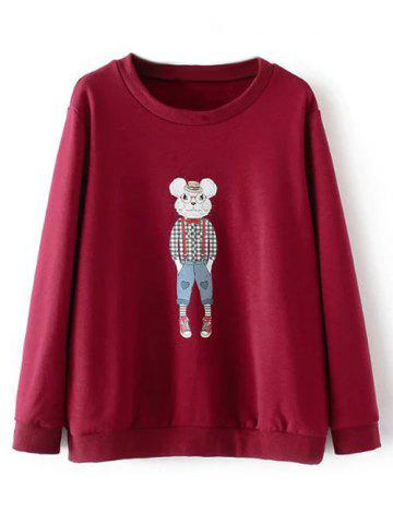 Hot Plus Size Cartoon Print Fleece Sweatshirt BURGUNDY 4XL