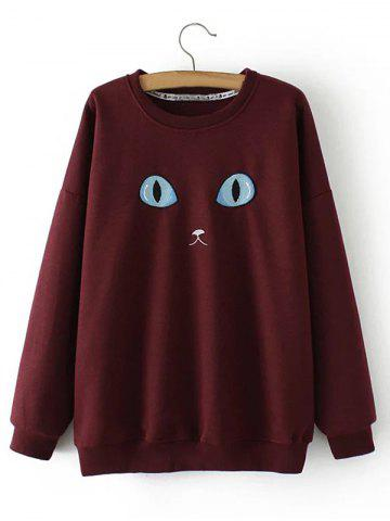 Store Plus Size Cat Embroidery Sweatshirt BURGUNDY 3XL