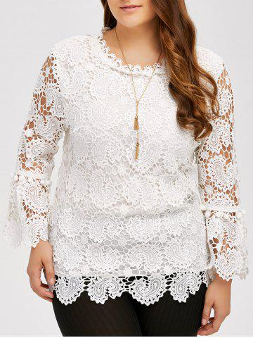 Fashion Plus Size Openwork Sheer Lace Blouse
