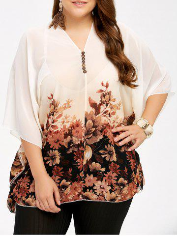 Outfits Plus Size V Neck Floral See Thru Blouse