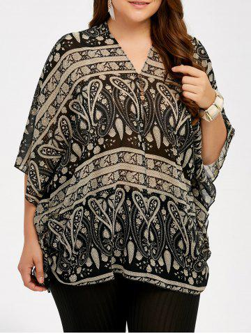Store Plus Size V Neck Ethnic Print Blouse