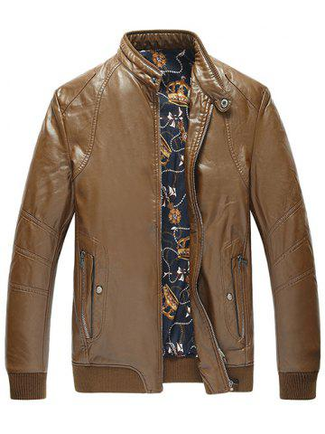 Outfit Zippered Rib Cuff Pocket Faux Leather Padded Jacket