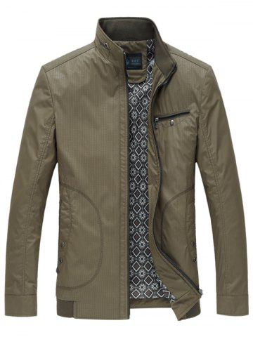 Affordable Pocket Stand Collar Zip Up Y Graphic Jacket