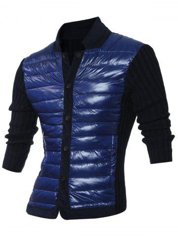 Ribbed Insert Snap Button Up Jacket - ROYAL 2XL