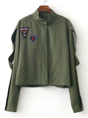 Affordable Slim Patch Spliced Short Jacket ARMY GREEN L
