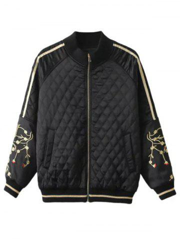 Buy Slim Crane Embroidered Argyle Quilte Bomber Jacket