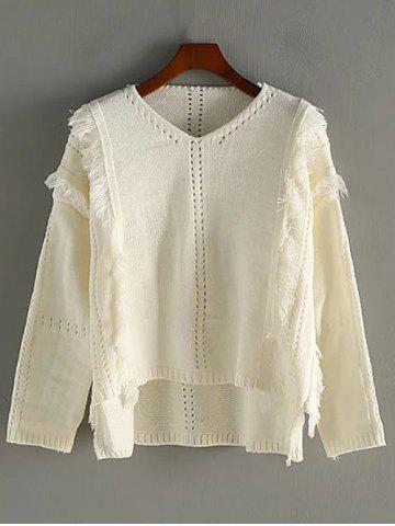 Discount V Neck High Low Fringed Pullover Sweater